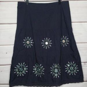 LOFT Navy Embroidered Boho Style Skirt Size 12
